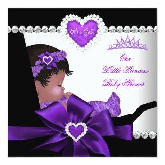 Princess Baby Shower Girl Purple African American Card