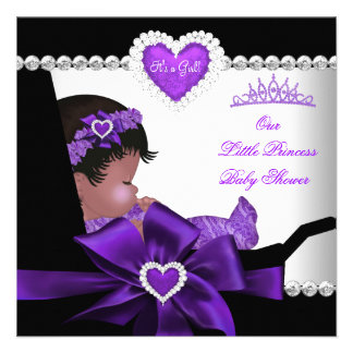 Princess Baby Shower Girl Purple African American Announcements