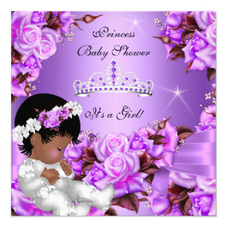 Princess Baby Shower Girl Purple Pink Rose Bow 2 Card