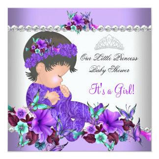 "Princess Baby Shower Girl Purple Teal Blue 3 5.25"" Square Invitation Card"