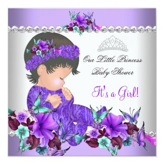Princess Baby Shower Girl Purple Teal Blue 3 Personalized Invites