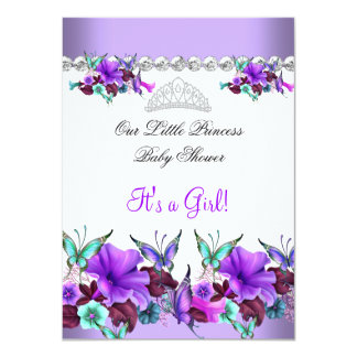 Princess Baby Shower Girl Purple Teal Blue 3a Card