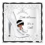Princess Baby Shower Girl Silver White Shoe 3 Card