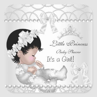 Princess Baby Shower Girl Silver White Tiara Square Sticker