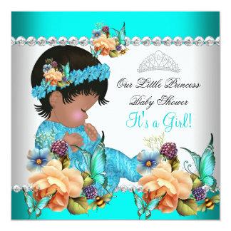 Princess Baby Shower Girl Teal Blue Flowers Card