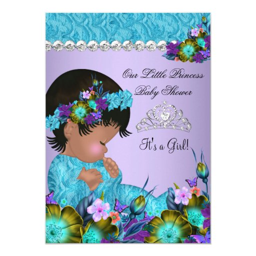 princess baby shower girl teal blue purple 2 personalized announcement