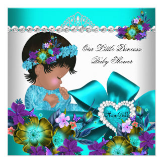 Princess Baby Shower Girl Teal Blue Purple 2 Announcements