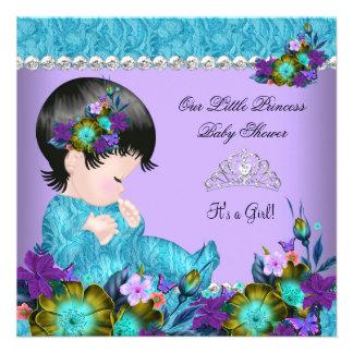 Princess Baby Shower Girl Teal Blue Purple 2 Custom Announcements
