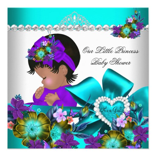 Princess Baby Shower Girl Teal Blue Purple 3 Announcement