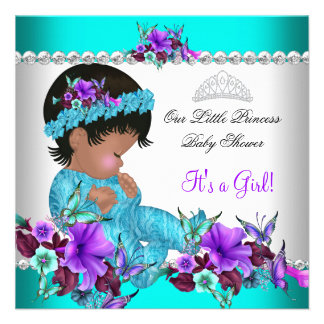 Princess Baby Shower Girl Teal Blue Purple 3 Announcements