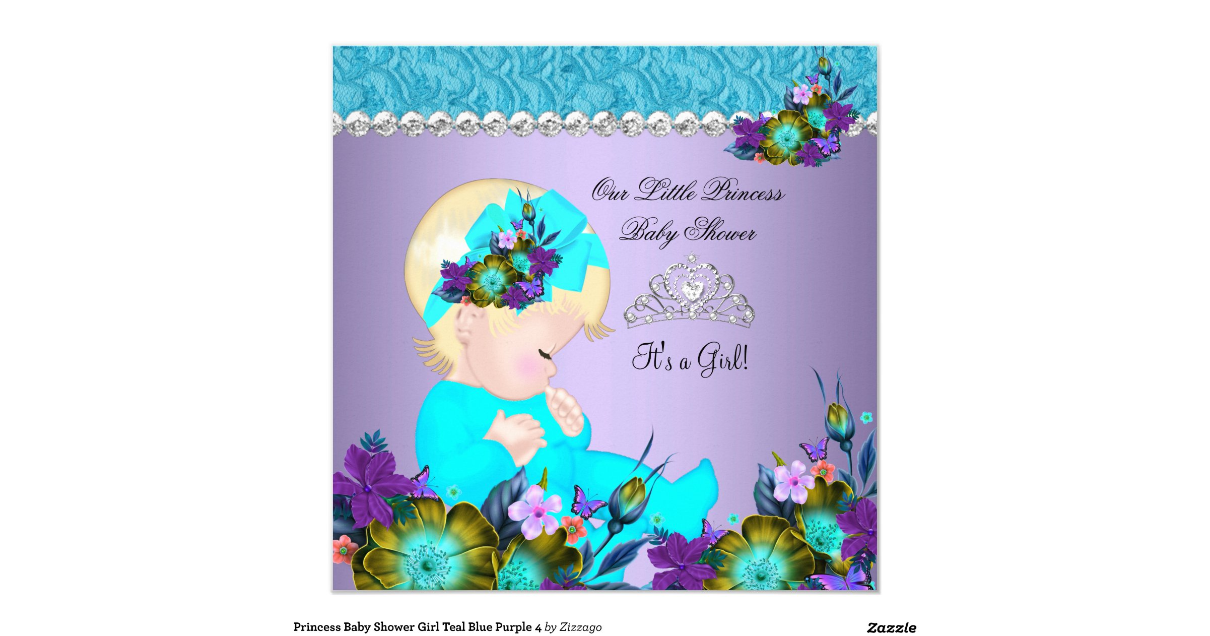 princess baby shower girl teal blue purple 4 square paper