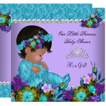 Toddler & Baby themed Princess Baby Shower Girl Teal Blue Purple Card