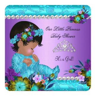 Princess Baby Shower Girl Teal Blue Purple Damask Card