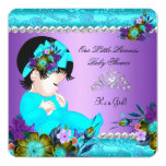 Princess Baby Shower Girl Teal Blue Purple Damask Invitation