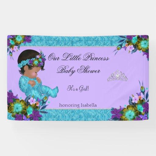 princess baby shower girl teal blue purple ethnic banner zazzle