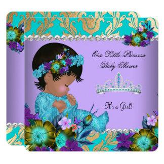 Princess Baby Shower Girl Teal Blue Purple Gold Card