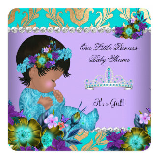 Princess Baby Shower Girl Teal Blue Purple Gold Card