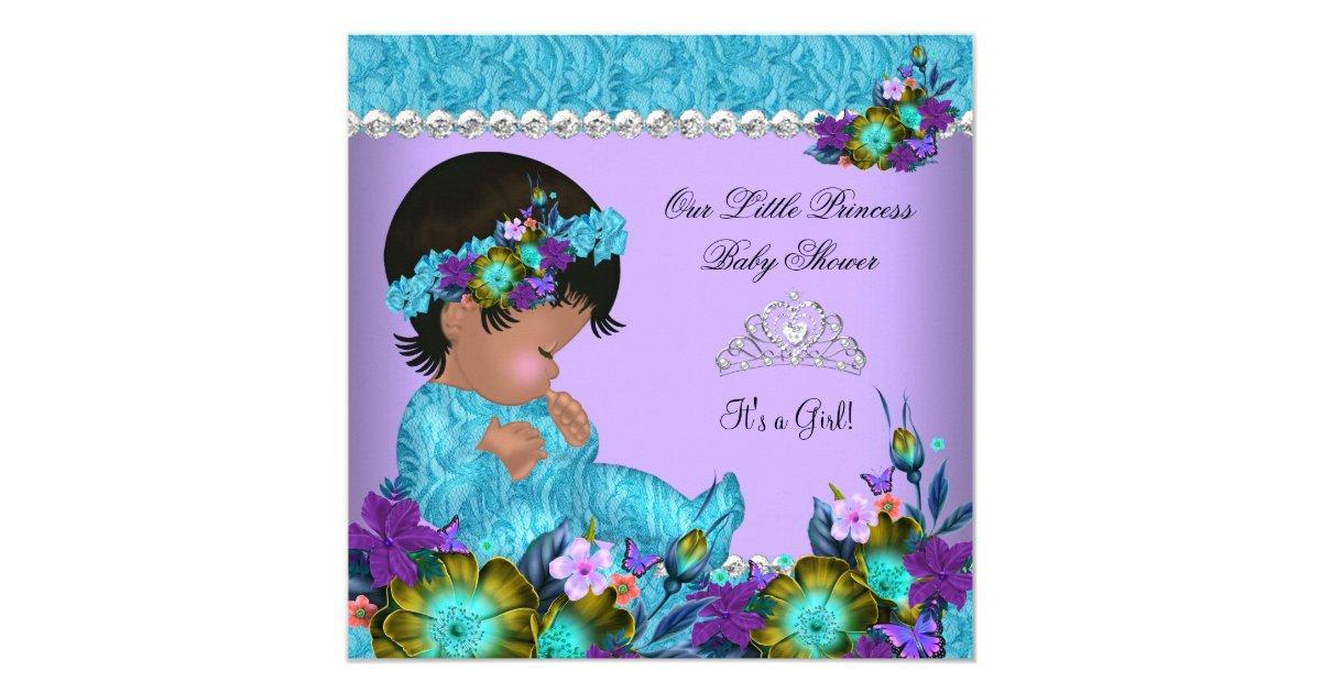 princess baby shower girl teal blue purple invitation zazzle