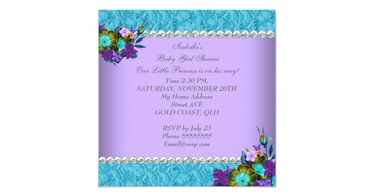 princess baby shower girl teal blue purple invitation zazzle