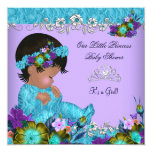 Princess Baby Shower Girl Teal Blue Purple Jewel Personalized Invitation Cards