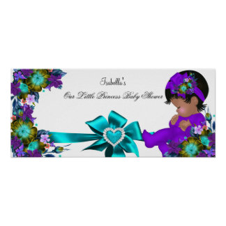 Princess Baby Shower Girl Teal Blue Purple Poster