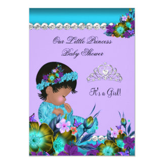 Princess Baby Shower Girl Teal Blue Purple zz2 5x7 Paper Invitation Card