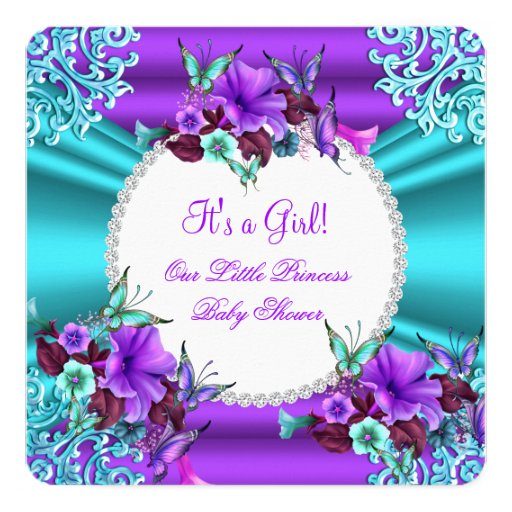 princess baby shower girl teal purple floral 4 invitation zazzle