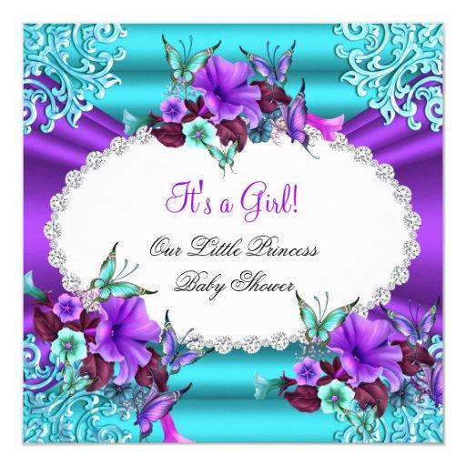 princess baby shower girl teal purple floral invitation