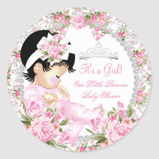 Princess Baby Shower Girl Vintage Rose Floral 2 Classic Round Sticker