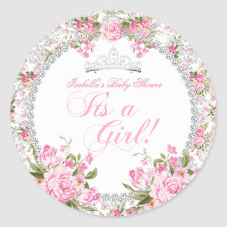 Princess Baby Shower Girl Vintage Rose Floral Classic Round Sticker