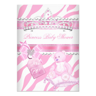 Princess Baby Shower Girl Zebra Pink White Bear Card