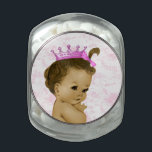 "Princess Baby Shower Glass Jar<br><div class=""desc"">Sweet pink toile princess African American baby shower candy tins with your choice of candy,  box shape and size!</div>"