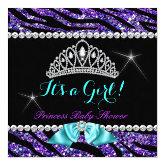 Princess Baby Shower Glitter Purple Teal Zebra 5.25x5.25 Square Paper Invitation Card