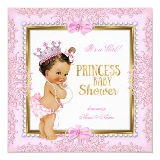 Princess Baby Shower Gold Pink Pearls Lace Card