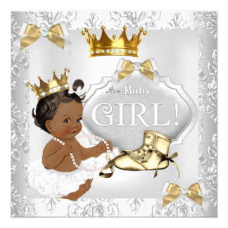 Princess Baby Shower Gold Silver Damask Ethnic Card