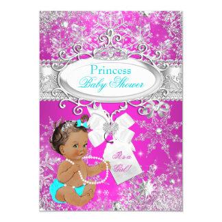 Princess Baby Shower Hot Pink Aqua Brunette Card