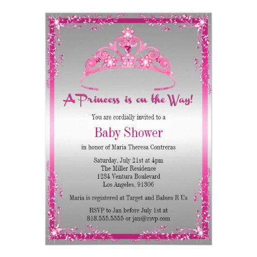 personalized baby shower pink princess invitations, Baby shower invitations