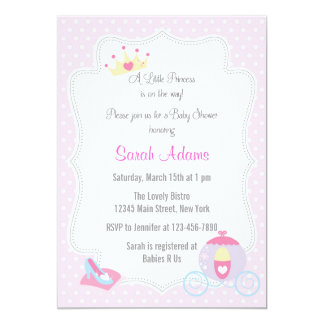 "Princess Baby Shower Invitation Pink 5"" X 7"" Invitation Card"