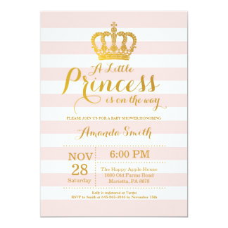Princess Baby Shower Invitation Pink and Gold