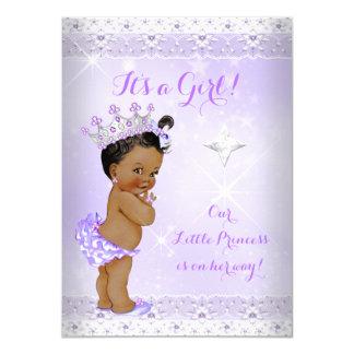 Princess Baby Shower Lilac Lace Tiara Ethnic Card