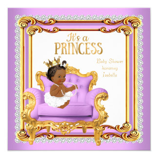 Princess Baby Shower Lilac Pink Gold Chair Ethnic Card