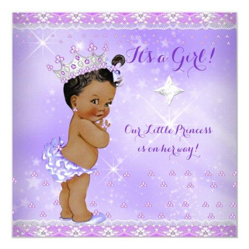 Princess Baby Shower Lilac Purple Lavender Ethnic Card ...