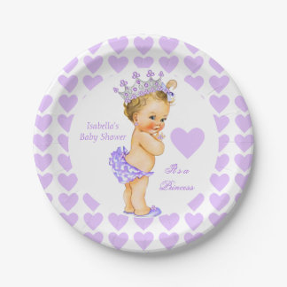 Princess Baby Shower Party Purple Heart Blonde Paper Plate