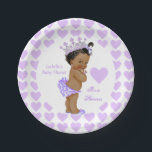 "Princess Baby Shower Party Purple Heart Ethnic Paper Plate<br><div class=""desc"">Princess Baby Shower Party Purple Hearts Ethnic . Princess Girl Baby Shower Party Products. Purple Hearts Princess. Lavender Baby Shower Girl White Lace Princess Tiara. Ethnic African American Baby Shower. Dinner,  Snacks,  Cakes,  food</div>"