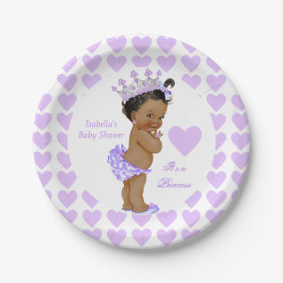 Princess Baby Shower Party Purple Heart Ethnic Paper Plate at Zazzle