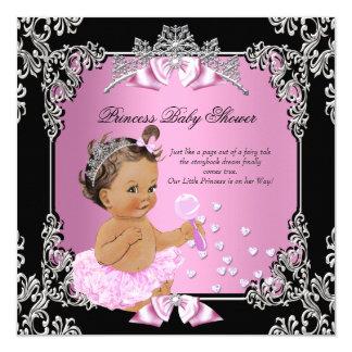 Princess Baby Shower Pink Black Tutu Brunette Card