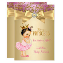 Princess Baby Shower Pink Gold Ballerina Brunette Card