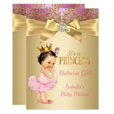 Toddler & Baby themed Princess Baby Shower Pink Gold Ballerina Brunette Card