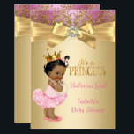 """Princess Baby Shower Pink Gold Ballerina Ethnic Card<br><div class=""""desc"""">Girl Baby Shower White Pink Gold Damask with bow. Ethnic African American,  Little Princess Baby Shower. Elegant Gold Crown Diamonds Pearls and Bow Girl with Ballerina Tutu Baby Shower. Elite Baby Shower. &quot;it&#39;s a Girl!&quot;</div>"""
