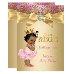 Princess Baby Shower Pink Gold Ballerina Ethnic Card